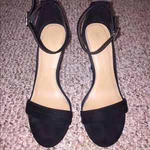 LC Black Suede Strapy Heels